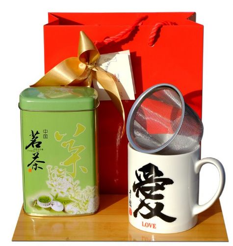 Gift Set - Tea mug Love Calligraphy sieve & Chinese Green Tea 50gram